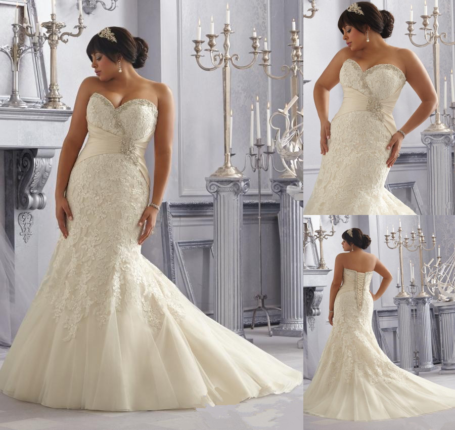 New arrival plus size mermaid wedding dresses 2015 size for Mermaid wedding dress with train