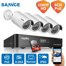 SANNCE 4CH HD 1080P SPOE CCTV Video System 4PCS 2MP POE IP Camera Outdoor Weatherproof Home Security Surveillance Kits 1TB HDD