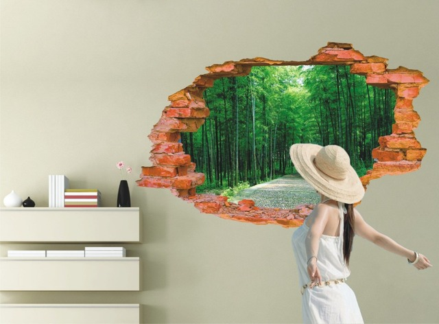buy nature scenery poster outside wall bamboo forest 3d stencils for walls home. Black Bedroom Furniture Sets. Home Design Ideas