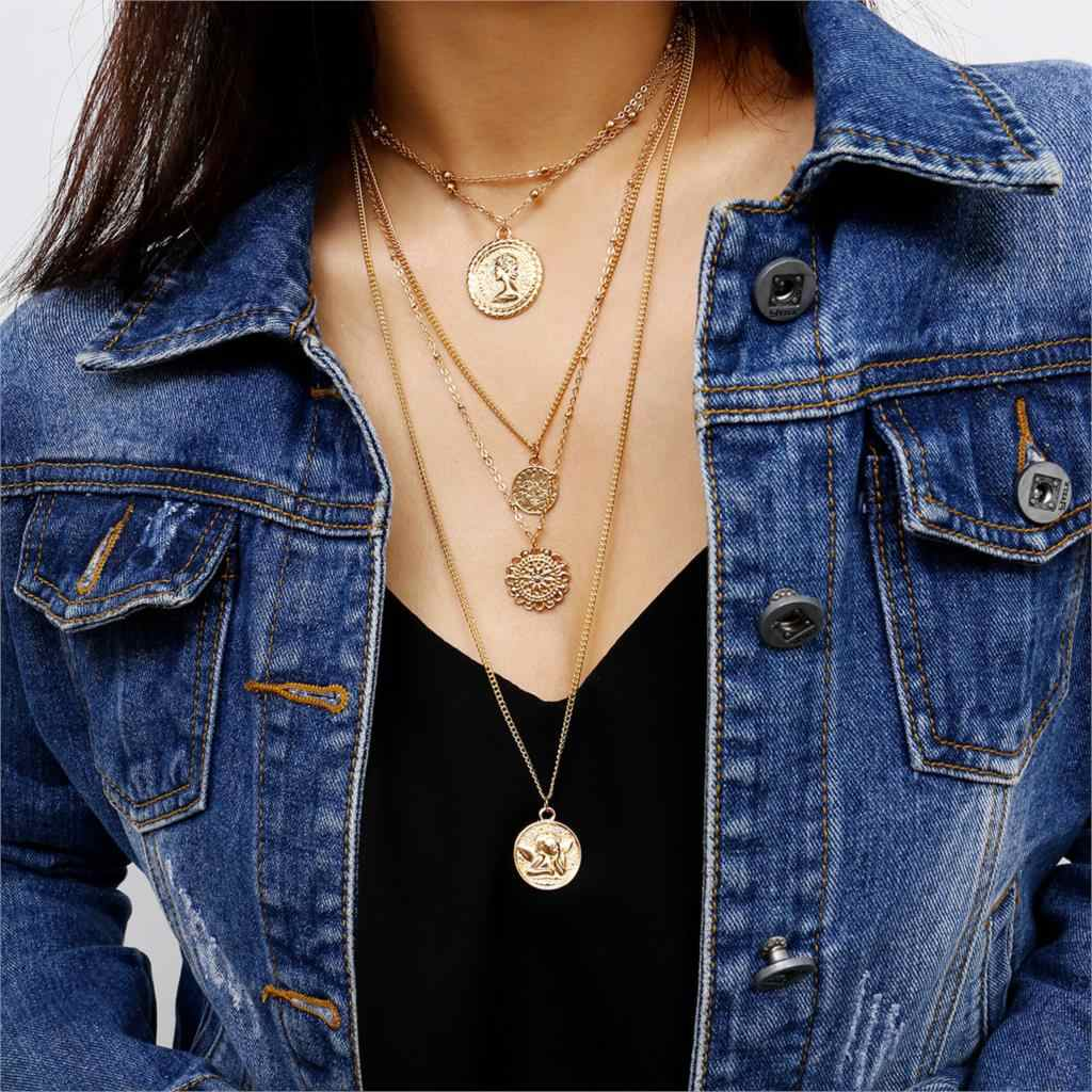 Vintage Gold Color Carved Coin Necklace Figure Medal Long Chain Double Layered Necklace Pendant Personalized Women Choker
