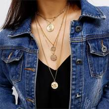 Vintage Gold Color Carved Coin Necklace Figure Medal Long Chain Double Layered Necklace Pendant Personalized Women Choker(China)