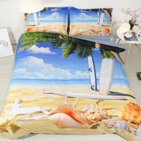 Royal Linen Source 3 PCS PER SET Sun and Surfing and Summer Beach fun 3d bed cover set Blanket Cover Set