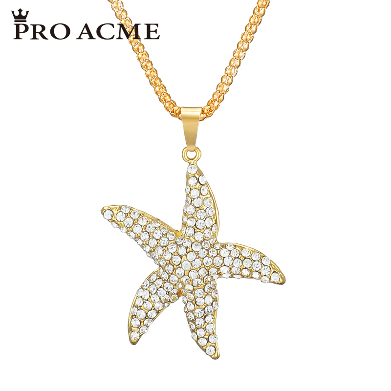 Pro Acme Fashion Australian Crystal Starfish Necklaces & Pendants for Women Long Sweater Chain Accessories Christmas Gift PN0632