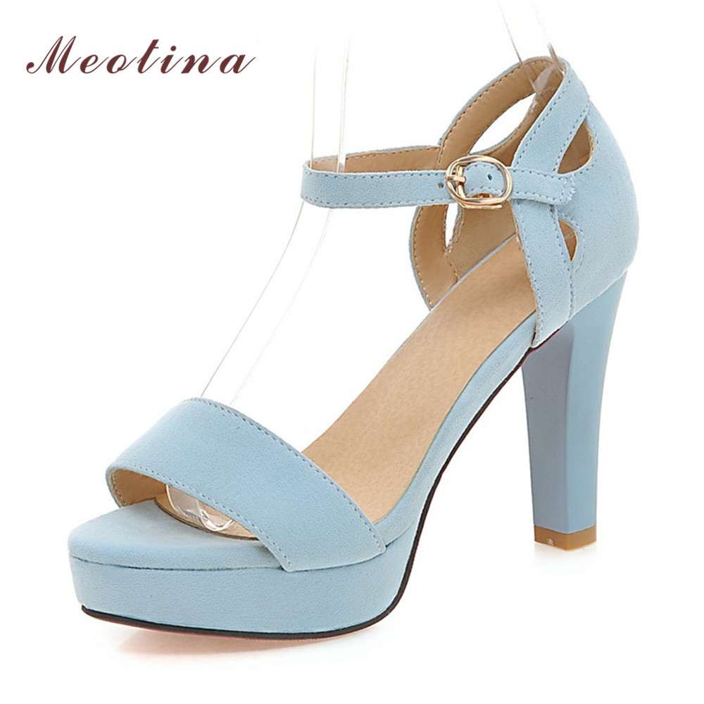 Meotina Shoes Women Sandals Open Toe High Heels Ankle Strap Summer Shoes Sexy High Heels Ladies Shoes Blue Orange Big Size 42 43 red high heels women shoes open toe ankle strap blue sandals stiletto chic fringed party d orsay shoes ladies large size 16