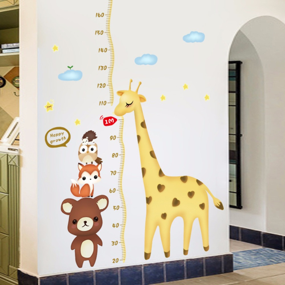 Diy cute giraffe bear measure growth chart quote wall decor height diy cute giraffe bear measure growth chart quote wall decor height ruler for kids girls room nursery decoration decals stickers in wall stickers from home nvjuhfo Choice Image
