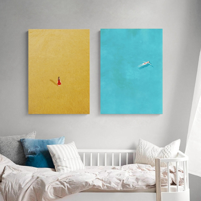 Swimming Pool Alone Girl Print Posters , Alone Illustration Series Canvas Art Painting Home Living Room Wall Picture Decoration