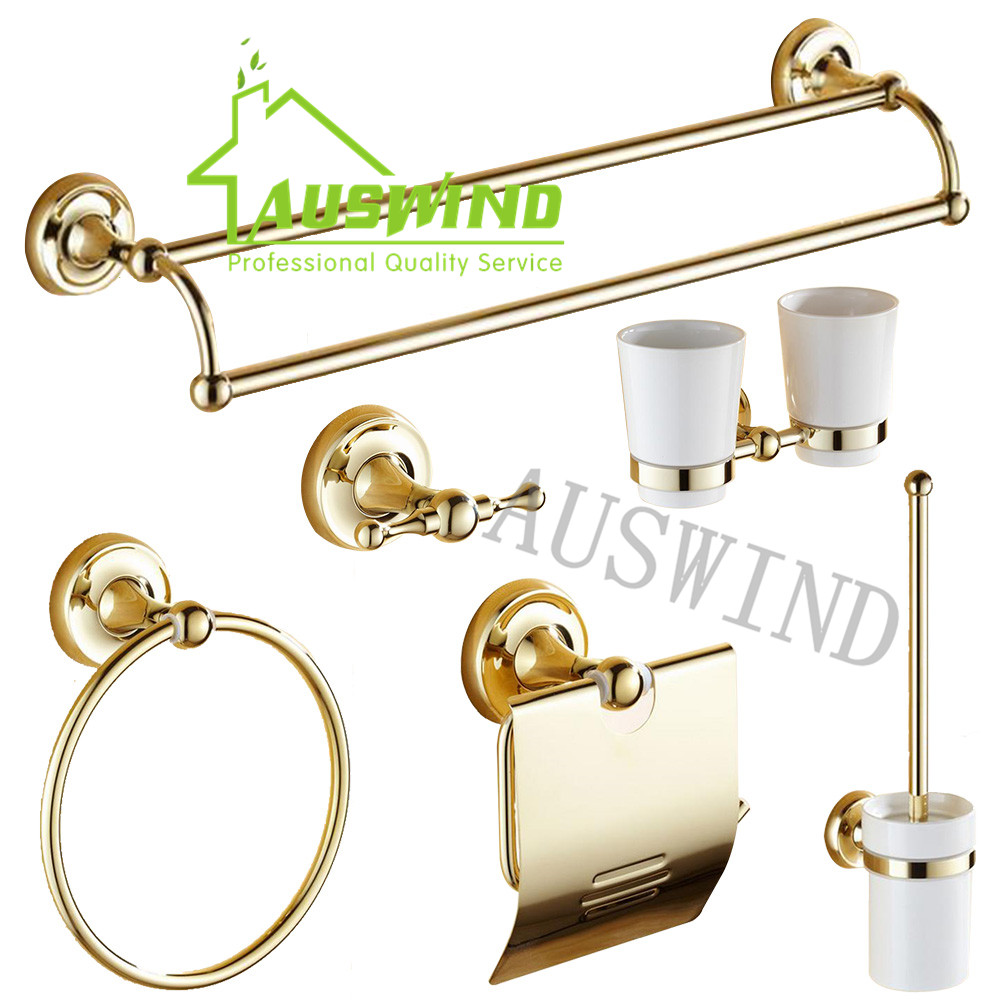 Luxury Polish Solid Antique Gold Brass T Pvd Bathroom Accessories Set Towel  Rack/ Toilet Paper Holder/ Towel Ring/ Robe Hook In Bathroom Accessories  Sets ...