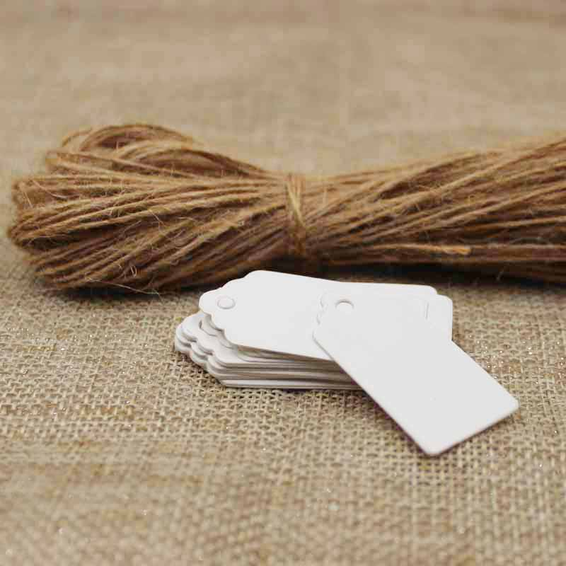 Apparel Sewing & Fabric Wholesale White/black/brown Blank Scallop Gift Tag With String Products Hang Tag 2*4cm 100pcs 100pcs Hemp String For Goods Show