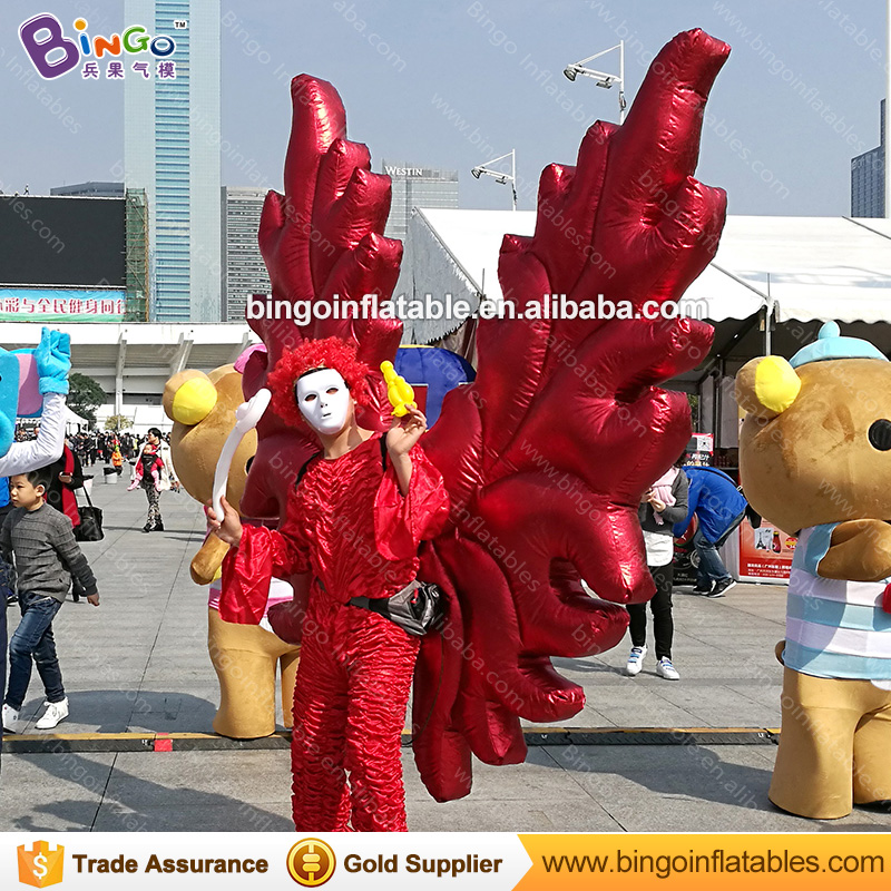 Free shipping 2X2 M red inflatable angel wings inflatable wings costume for promotion vivid butterfly wings clothing stage toys - 4