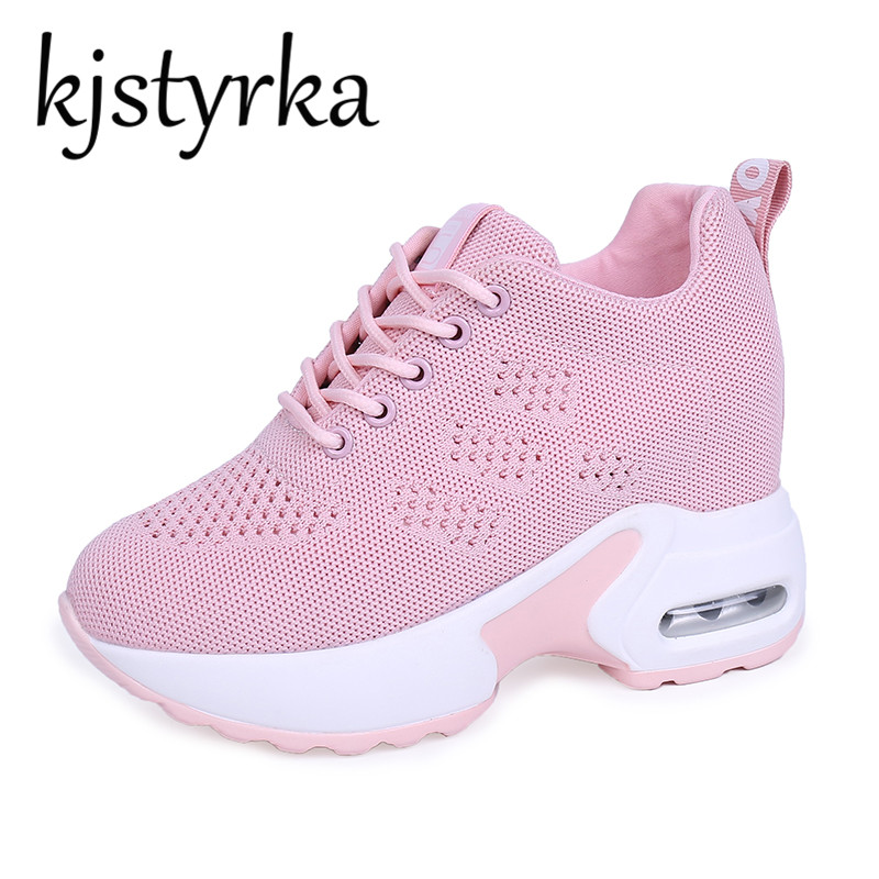 Kjstyrka 2018 Spring Autumn Breathable Women Sneakers Hidden Increasing Shoes  Women Wedge Casual Shoes Lace Up High Heels 9cm 1573601352f9