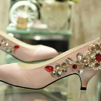 New Sexy Women's Rhinestone Pumps Dress shoes Bridal shoes Lady Fashion Shoes Ultra Luxurious Pink Bridal Wedding Dress Shoes