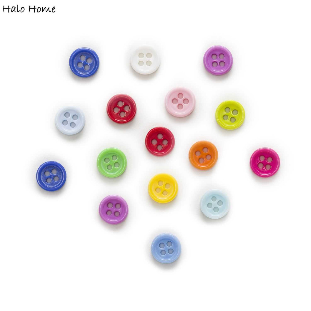 9mm 100pcs 4 Holes Round Resin Buttons Decor Clothing Home Sewing Scrapbooking Card Making DIY