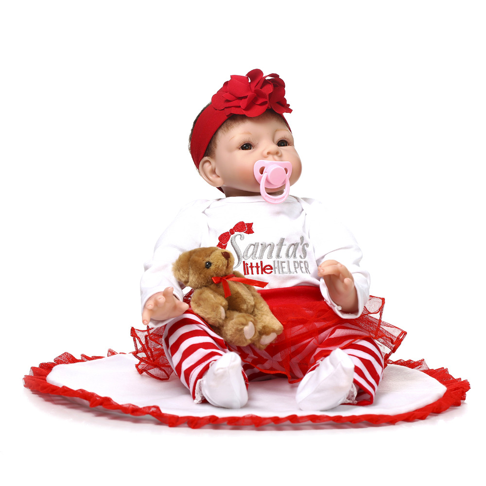 Nicery 20-22inch 50-55cm Bebe Reborn Doll Soft Silicone Boy Girl Toy Reborn Baby Doll Gift for Children Red Dress Baby Doll nicery 18inch 45cm reborn baby doll magnetic mouth soft silicone lifelike girl toy gift for children christmas pink hat close