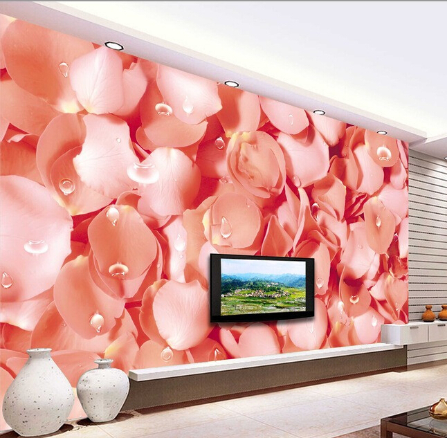 Custom papel DE parede 3 d,pink rose petals murals for the sitting room the bedroom TV setting wall waterproof wallpaper custom wallpaper murals ceiling the night sky for the living room bedroom ceiling wall waterproof papel de parede