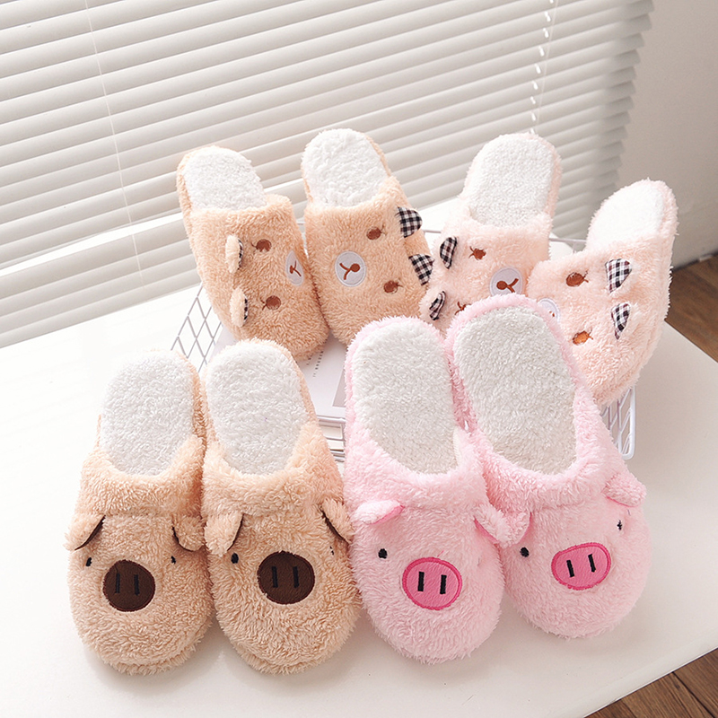 DreamShining New Arrival Women Cute Pig Home Floor Soft Stripe Slippers Female Comfortable Cotton-padded Warm Slippers Shoes