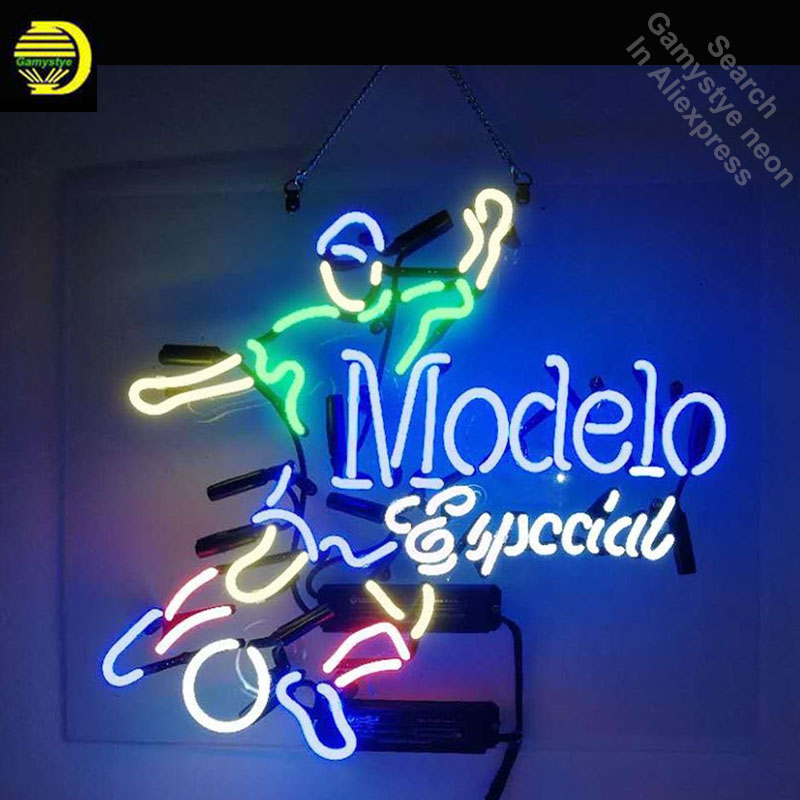 US $112 48 24% OFF|Neon Sign for Modelo Especial Soccer neon bulb Sign Neon  lights Sign Real glass Tube Iconic Bulbs Bright lamp Custom Brand LOGO-in