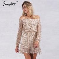Simplee Apparel Sexy Off Shoulder Sequin Tassel Summer Dress 2016 Beach Party Short Dress Women Backless