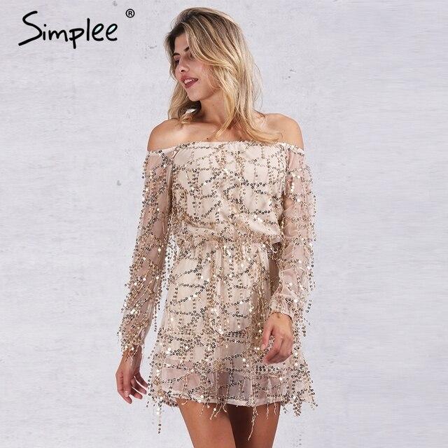 Simplee одежды пикантные Off Shoulder Sequin кисточкой летнее платье 2016 Beach Party короткое платье Для женщин спинки Винтаж Платье Vestidos