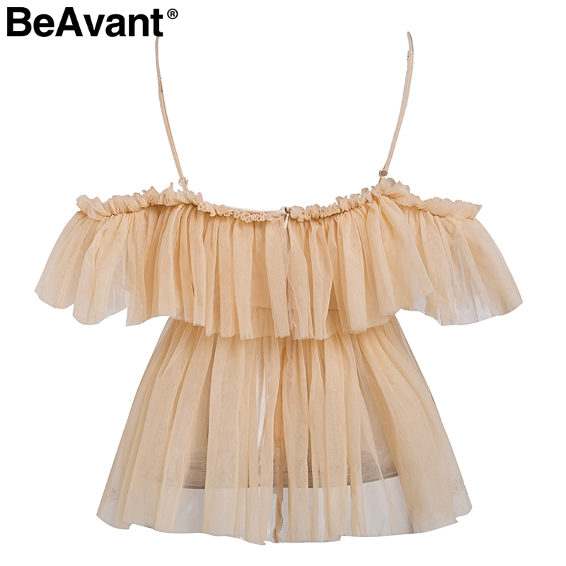 BeAvant Off shoulder womens tops and blouses summer 19 Backless sexy peplum top female Vintage ruffle mesh blouse shirt blusas 10