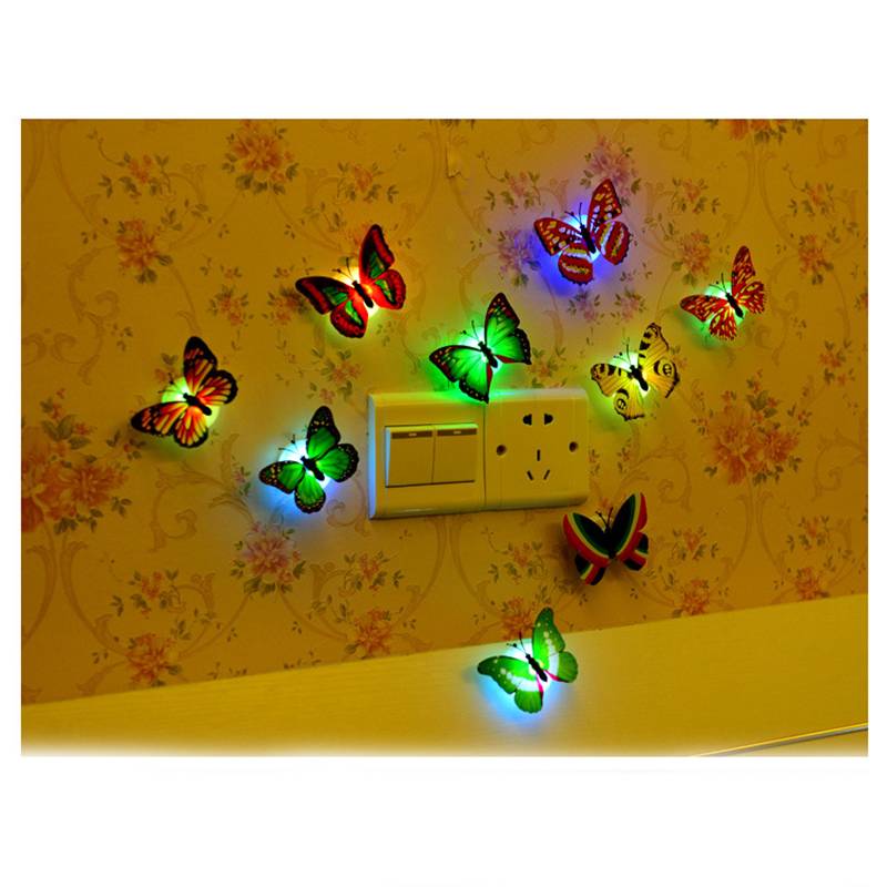 Creative Butterfly Night Light Ornaments Ecofriendly Sticking Magnificent Butterfly Home Decor Accessories