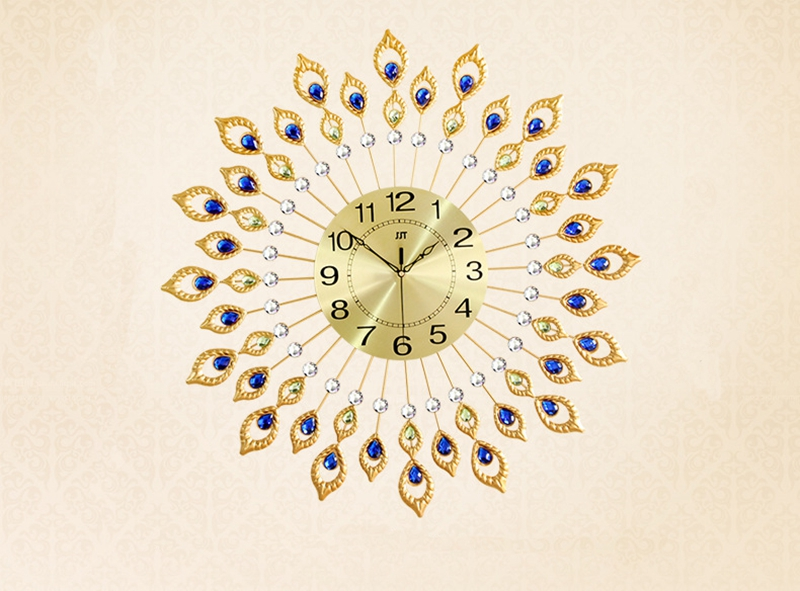 3D Big Peacock Wall Clock Modern Design Home Decor Wall Watches Living Room 80pcs Diamonds Decorative Wrought Iron Silent Clock
