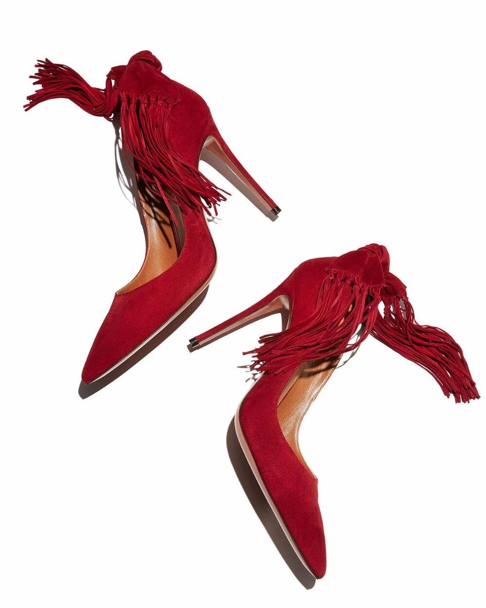 Chaussures Femme Talons Rouge Bowtie Daim À As Showed Frangé Stiletto Pointu De Bout En Pompes Gland Color Mariage Hauts d8W1gR8