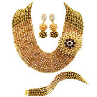 Fashion Golden Brown Champagne Gold AB African Beads Jewelry Set Nigerian Necklace Wedding Party Jewelry Sets 10SZ09