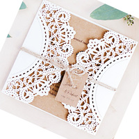 50Pcs Laser Cut Wedding Invitations Cards Vintage Tags Holiday Greeting Card Kits Wedding Event Party Supplies Decoration