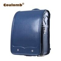 Кулоновского школьный рюкзак для мальчика синий мешок для школьников ортопедические Randoseru одноцветное японский PU Mochilas Infantis 2018 Новые