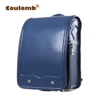 Coulomb Kids School Backpack For Boy Blue Bag Cartable Enfant Orthopedic Randoseru Solid Japanese PU Mochilas Infantis 2017 New