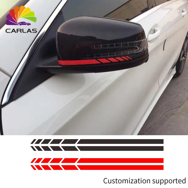 2x Car Side Mirrior Vinyl Graphic Sticker 20*0.7cm Rear View Mirror Body Stripe Decal DIY Decals