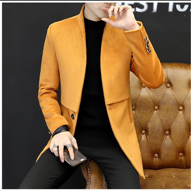 bca1d09401e New Arrivals 2018 Smart Casual Formal Wool Mens Clothing Overcoats Fashion  Winter Dress Coat Mens Plus