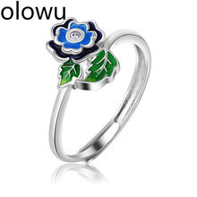 olowu Ethnic Cloisonne Rings Jewelry Wholesale Fashion Copper Blue Enamel Adjustable Ring Women Flower Leaf Ring Jewellery(China)