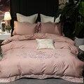 Европейский роскошный комплект постельных принадлежностей с вышивкой из египетского хлопка  Розовый пододеяльник  постельное белье  прост...