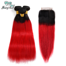 Young Look Malaysian Straight Hair Bundles With Closure 4*4 Free Part #1b Red 3 Bundles 100% Human Hair Non-Remy hair extension