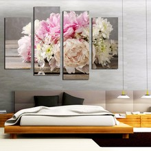 4 Piece Colorful Peony pink flowers Painting Home Decor wall Art Canvas Prints Modular Pictures