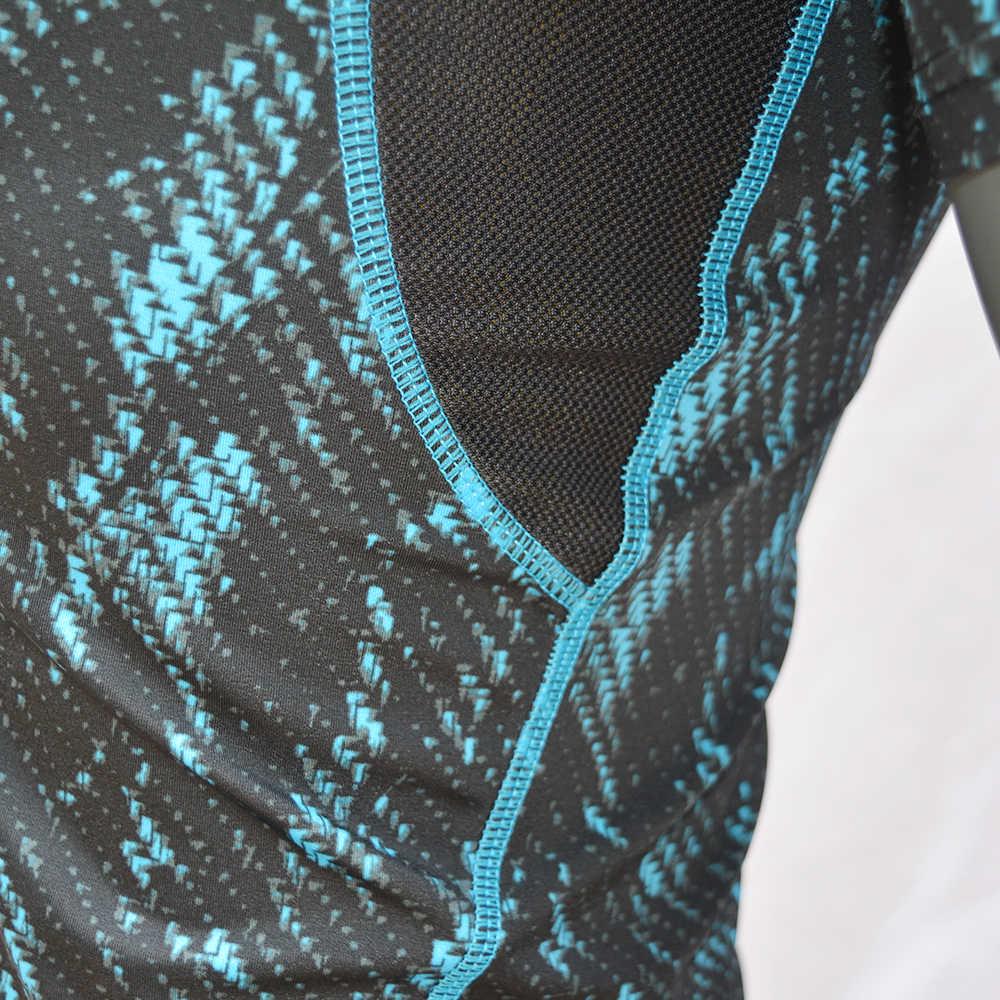 Nueva camiseta de manga corta con estampado de LICRA para hombres, protección contra el sarpullido, protección contra el sarpullido, protección Anti-UV, ropa de playa UPF 50