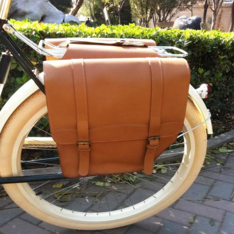 E0999 Retro Bicycle After-frame bag Chocolate 100% head layer yellow cowhide bike Rear rack bag Bicycle Parts 1pcs roswheel mtb bike bag 10l full waterproof bicycle saddle bag mountain bike rear seat bag cycling tail bag bicycle accessories
