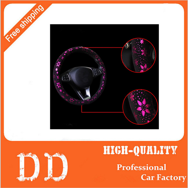 New Special Custom Luxury Brand Personalized&Cute Car Steering Wheel Cover With Flowers Car Accessories For Girls Women