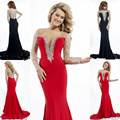 Mermaid Red Black Long Sleeved Rhinestone Prom Dresses Sequined Formal Dress Mermaid Floor Length Sex V-Neckline Party Gown