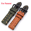 Black brown grey green Leather Watchbands ,Classic Men 20mm/22mm/24mm/26mm Watchbands For Panerai Strap Fast Delivery