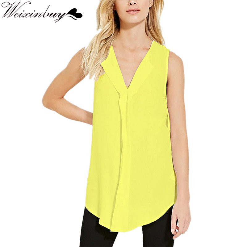 WEIXINBUY Casual Women Casual Sleeveless T-Shirt Summer Style Tops Tees Sleeveless Chiffon Cloth Women Plus Size