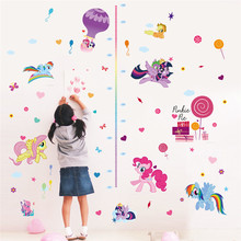 Cartoon My Little Pony Ponies Wall Stickers For Kids Rooms Home Decoration Height Measure Chart Decal Cute christmas Gift