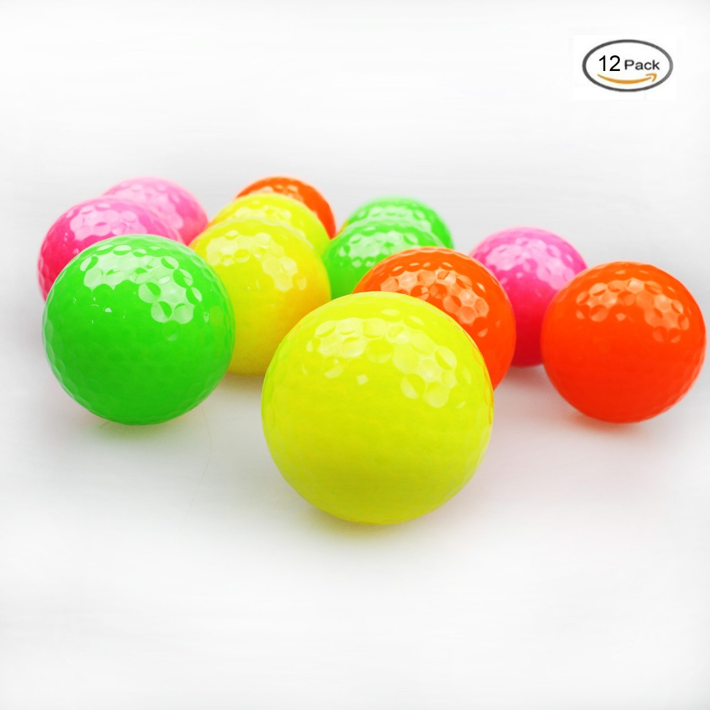 Crestgolf Crystal Golf Balls Practice Two-Piece Golf Ball Golf Gift Mixed Color 12pcs/pack