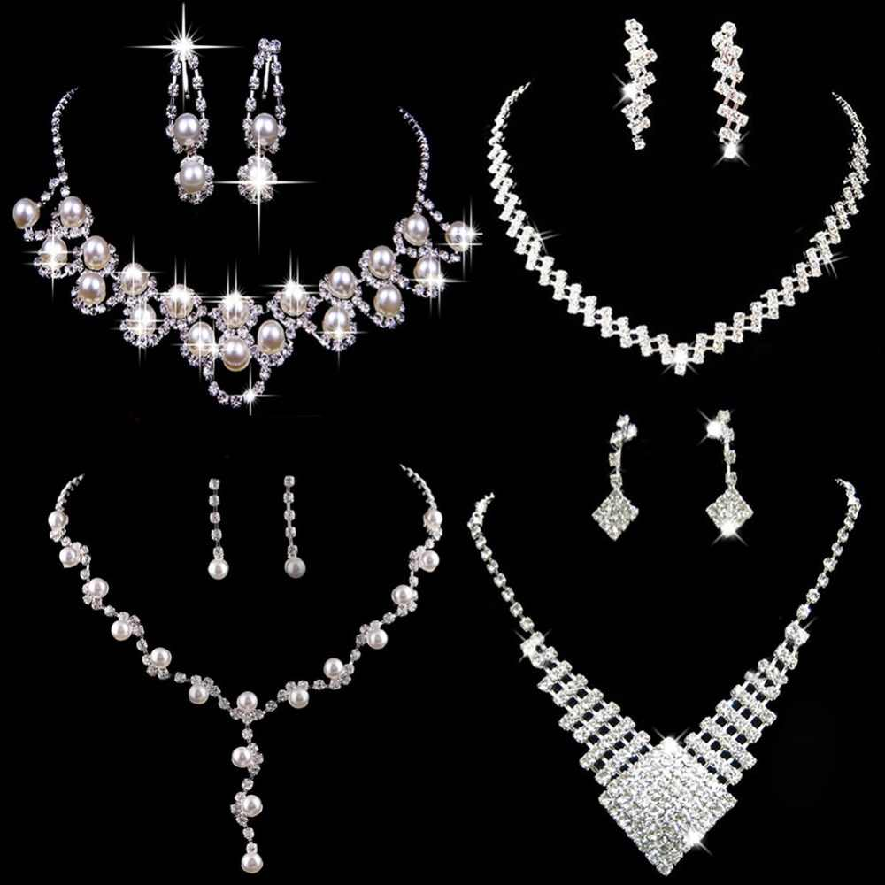 Wonderful Prom Wedding Bridal Jewelry sets Crystal Rhinestone Necklace Earring Sets Hot Sale