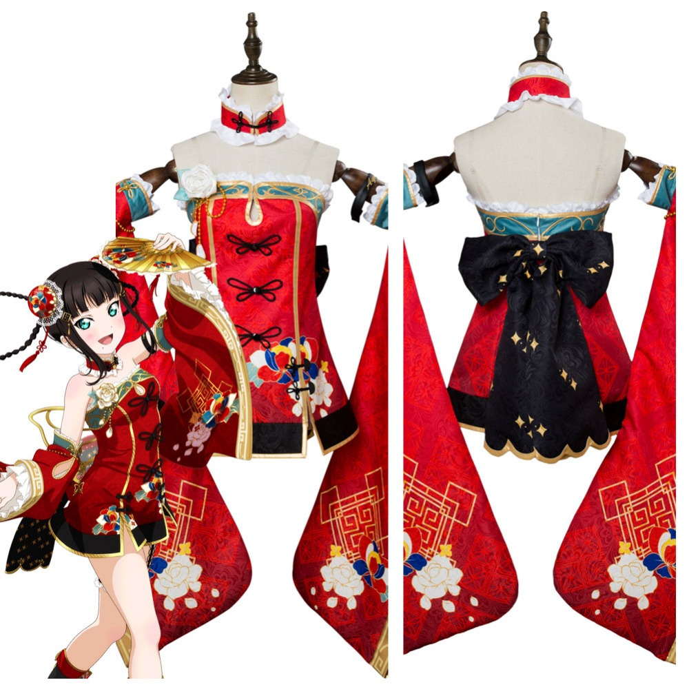 LoveLive Cosplay Aqours Kurosawa Dia Cosplay Costume Awakening Dress Women Girls Cheongsam Cloak Halloween Carnival Costumes