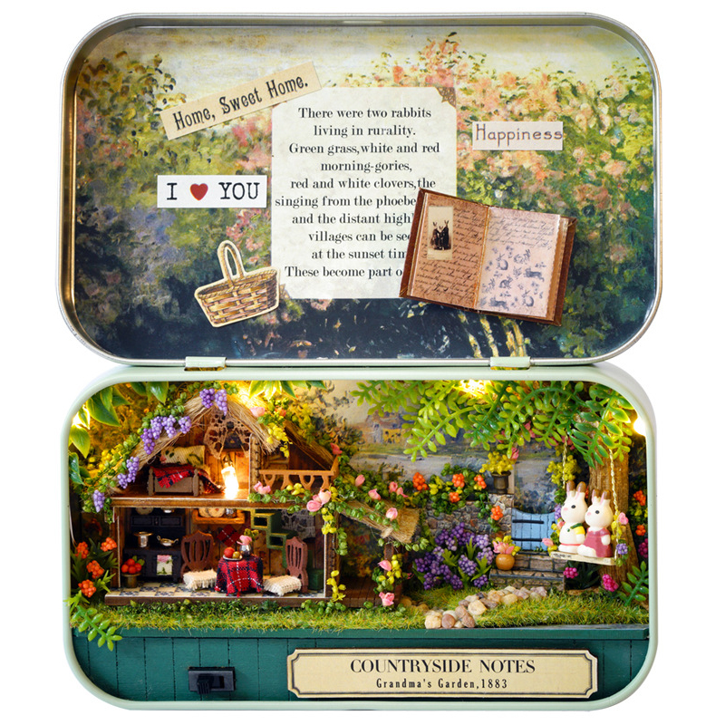 Box Theatre Nostalgic Theme Miniature Scene Wooden Dollhouse Miniature Toy DIY Doll House Furnitures Countryside Notes Q004 #E