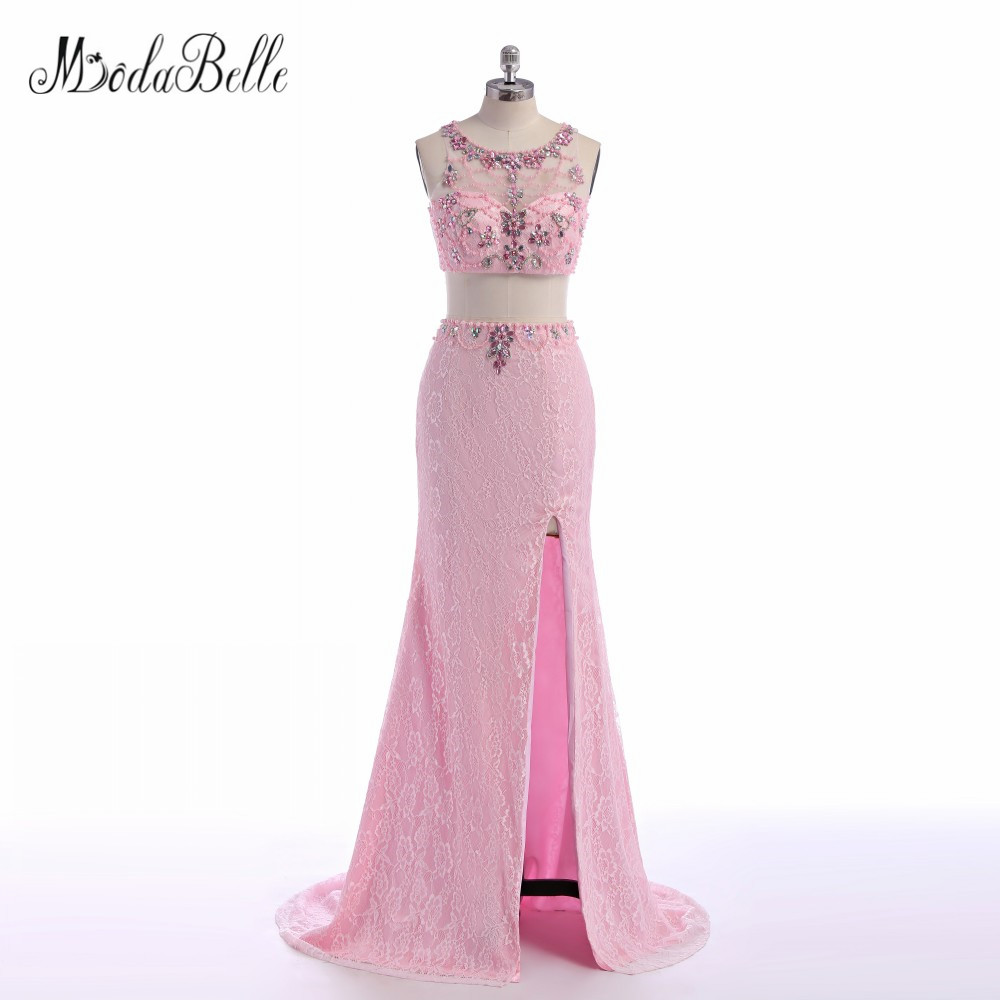 modabelle Open Leg Long Lace Pink Prom Dresses Two Pieces Beaded ...