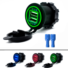 Новое поступление сигареты светильник er гнездо с разъемом 12 V-24 V 2 Порты и разъёмы зарядных порта USB для автомобиля Зарядное устройство 5V 4.2A выход с led светильник Мощность адаптер
