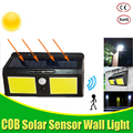 COB LED Солнечный свет датчик движения IP65 водонепроницаемый наружный садовый свет украшение забор Лестница Путь Двор безопасность Солнечная ...